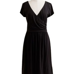 J Crew Black Wrap style fit and flare Dress knit
